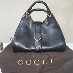 GUCCI Black Smooth Leather Stirrup Top Handle Bag
